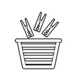 laundry basket with clothes pin vector image vector image