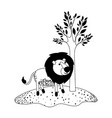 lion cartoon next to the tree in black dotted vector image vector image