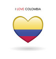 love colombia symbol flag heart glossy icon on a vector image vector image