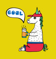 lovely hand-drawn unicorn-football fan vector image vector image