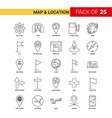 map and location black line icon - 25 business vector image