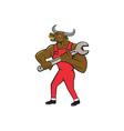 Mechanic Minotaur Bull Spanner Isolated Cartoon vector image vector image