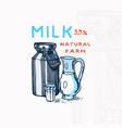 milk can label jug and glass vintage logo vector image vector image