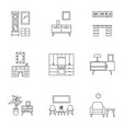 modern home furniture icon set outline style vector image