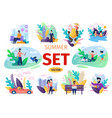 people summer activities flat concepts set vector image