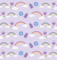 rainbows clouds flowers ornament fantasy magic vector image