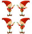 Red Elf Holding Mistletoe vector image vector image