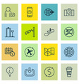 set of 16 traveling icons includes call duration vector image vector image