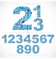 set of beautiful numbers decorated with blue vector image