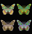 set of embroidery pattern with butterfly on black vector image vector image