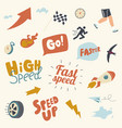 set speed icons stopwatch wheel and rocket vector image