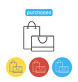 shopping bag outline icon vector image vector image