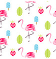 summer pattern with flamingo ice cream vector image vector image