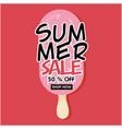 summer sale 50 off shop now strawberry ice cream vector image
