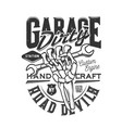 tshirt print with skeleton hand hold wrench design vector image