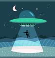 ufo abducting a men summer night farm landscape vector image