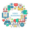 video blogging flat line concept vector image vector image