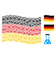 waving german flag collage of chemistry items vector image