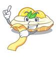 with menu cartoon piece of yummy lemon meringue vector image