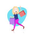 woman character holding shopping purchases bag vector image vector image