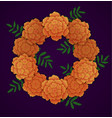 wreath of orange marigolds vector image