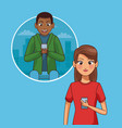 young couple with smartphones vector image vector image