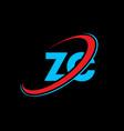 zc z c letter logo design initial letter zc vector image vector image