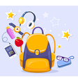 colorful of yellow backpack phone with head vector image