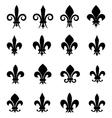 Set of 16 different fleur de lis symbols vector image