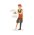 brave pirate sailor character with wooden leg vector image