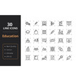 30 education line icons vector image vector image