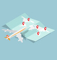 airplane and brochure map with red pin location vector image vector image