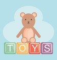 alphabet blocks with teddy bear vector image vector image