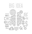 big idea concept with brain on white background vector image vector image