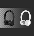 black and white headphones vector image vector image
