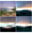 Blurred sunset hexagonal backgrounds set sunrise vector image vector image