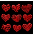 broken red heart on black vector image vector image