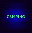 camping neon text vector image vector image