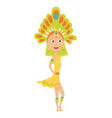 carnival dancer girl silhouette with feather vector image