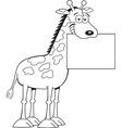 Cartoon giraffe holding a sign vector image