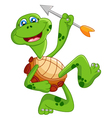 Cartoon turtle holding bow vector image vector image