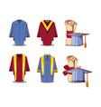 celebration graduation card set icons vector image