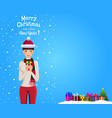 christmas and new year card with space for text vector image vector image