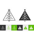 christmas tree simple black line fir icon vector image vector image