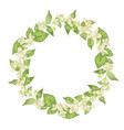 circle wreath with jasmine flowers in graphic vector image vector image