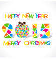 colorful new year 2015 and merry christmas design vector image vector image