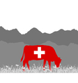 Cow alp and swiss flag vector image vector image