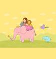 cute cartoon girl elephant monkey and hippo vector image vector image
