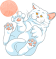 cute white cat playing with a ball of yarn vector image vector image