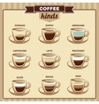 Different Coffee Kinds Flat Icons Set vector image vector image